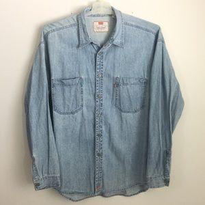 Levi's XL Blue Denim Long Sleeve Button Down Shirt